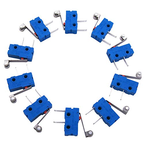 (Twidec/10Pcs 5A 125 250V AC SPDT 1NO Short Metal Hinge Roller Lever Arm Switch Snap Action Button Type 2 Pins Mini Micro Limit Switch KW11-3Z09)