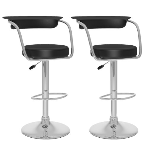 CorLiving B-107-UPD Open Back Adjustable Bar Stool, Black Leatherette, Set of 2
