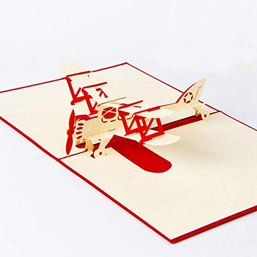 (3D Card, Birthday Card Greeting Papercraft Card Thanksgiving Card, Airplane Pop Up Card for Anniversay Wedding Birthday Christmas Gift to Farther Brother Boy Teens (1 PCS))