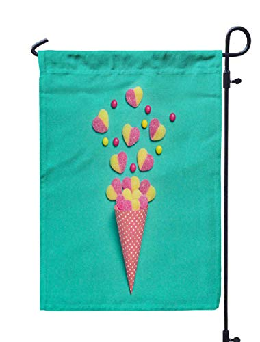 Shorping Welcome Garden Flag, 12x18Inch Ice Cream Cone Gummy Candies Flat Lay Love Valentines Day Concept Summer Party Birthday Firework for Holiday and Seasonal Double-Sided Printing Yards Flags -