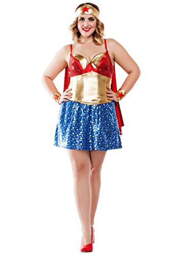 [Starline Women's Plus Size Wonder Lady Cosplay Costume, Red/Gold, 1X] (Wonder Woman Red Corset)