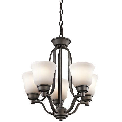 Kichler Lighting 1788OZ Langford 5-Light Mini-Chandelier, Olde Bronze Finish with Satin-Etched White Glass Shades by Kichler Lighting