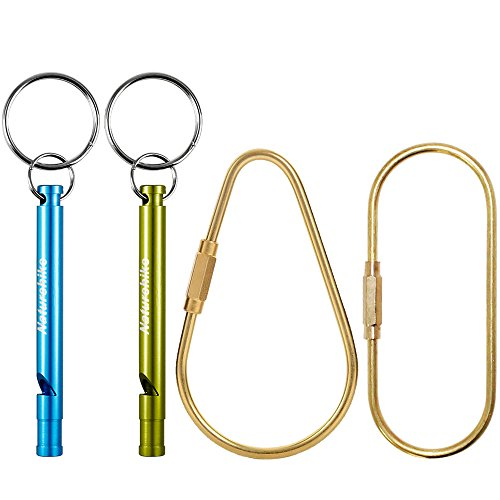FineGood 2 Pack Brass Keychains, Screw-Lock Key Ring Chain Carabiner with 2 Aluminum Whistles (0.5 Ounce Keychain)