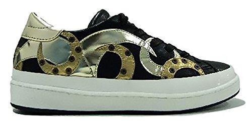 Philippe Model Zapatillas de Piel Para Mujer Nera e Oro
