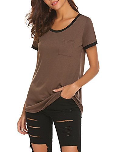 Queensheero Women's Summer Short Sleeve Contrast Color Cotton T-Shirts with Pocket (XXL, Coffee)