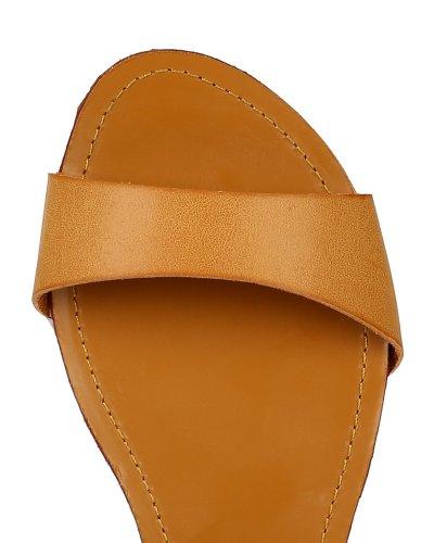 Støtfanger Bb48 Kvinner Leather Perforert Ankelen Wrap Thong Gladiator Flat Sandal - Kamel