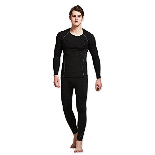 Feelvery Men's HEATPRO Active Performance Long Johns Termal Underwear Set (Large, Black) by Feelvery