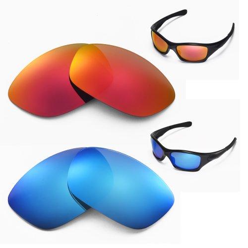 New Walleva Polarized Ice Blue + Fire Red Lenses for Oakley Pit Bull