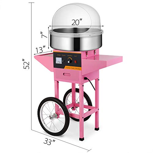 Happybuy Electric Candy Floss Maker 20.5 Inch Cotton Candy Machine 1030W for Various Parties (Cotton Candy Machine with Cart & Cover) by Happybuy (Image #1)