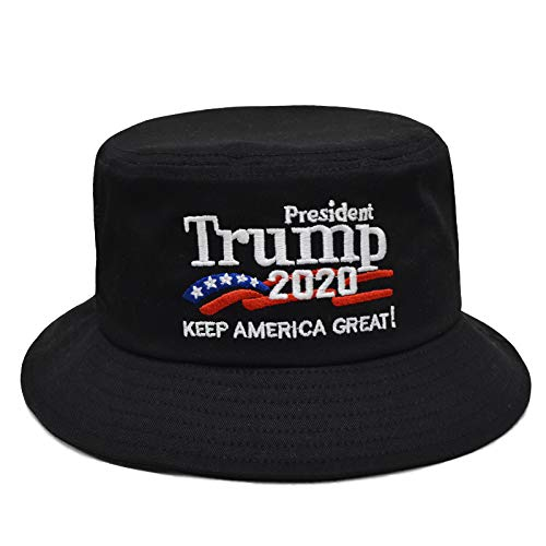 Leather Bucket Hat - Besti Donald Trump 2020 Keep America Great Cap Adjustable Baseball Hat with USA Flag - Breathable Eyelets (Bucket Black)