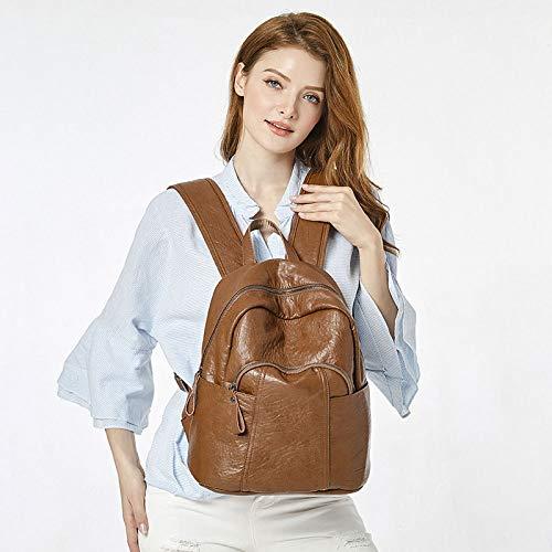 di dello classico signora zaino di di modo cuoio della Stile borsa marrone dello della studente borsa viaggio della di svago 8IwF4w
