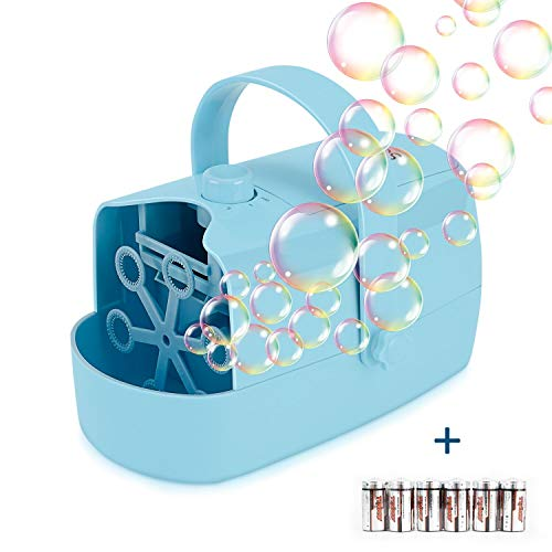 Supkiir Automatic Bubble Machine, Bubble Blower for Kids Powered by Plug-in or Batteries, with Two Bubbles Blowing Speed Levels for Party, Wedding, Outdoor Indoor Toys (Best Bubble Machine For Parties)