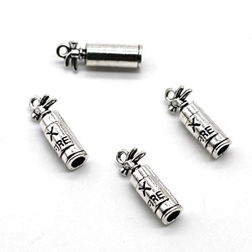 Fire Extinguisher Charm - MT 2007 Alloy Charms, Silver Tone Handmade Supply Charms, Handmade Craft, Handmade Jewelry Supply (50PCS CC15 Fire Extinguisher Charms)