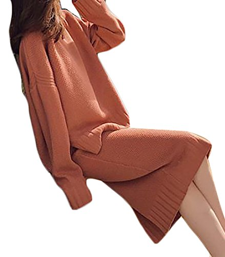 Etecredpow Womens Knit Long Sleeve Loose Sweater Slit Bodycon Skirt 2pcs Set Orange One Size
