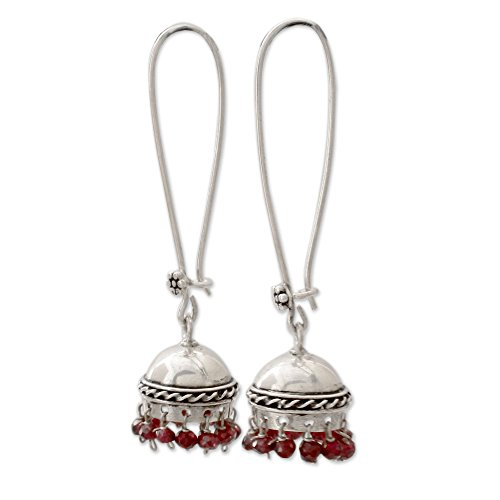 NOVICA Garnet .925 Sterling Silver Dangle Earrings Grand Tradition