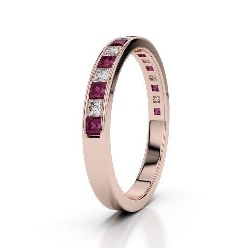 Or Rose 18carats 0,51CT G-H/VS Certifié Coupe ronde Rubis et diamants Agdr-1135