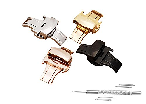 Double Push Clasp (Watch Buckle Replacement 16mm Stainless Steel Watch Band Golden Tone Double Push Spring Watchband Clasp)