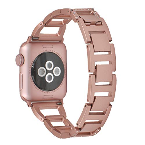 Bling Watch Strap Band Compatible for Apple Watch 38mm Metal Watch Bracelet Rose Gold