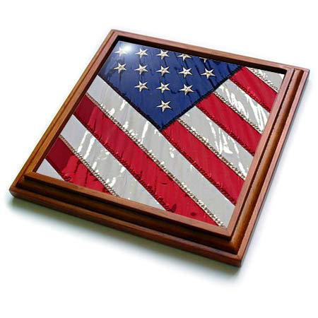 3dRose Stamp City - americana - Stylized photograph of the Flag of the United States of America. - 8x8 Trivet with 6x6 ceramic tile (trv_315603_1)