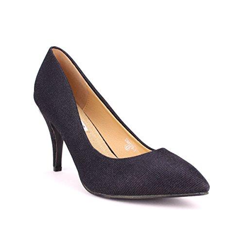 À Noir Escarpin Cendriyon Paillettes Femme Noirs Chaussures Deys q60U0pwn