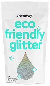 """Hemway Eco Friendly Biodegradable Glitter 100g / 3.5oz Bio Cosmetic Safe Sparkle Vegan for Face, Eyeshadow, Body, Hair, Nail and Festival Makeup, Craft - 1/128"""" 0.008"""" 0.2mm - Silver Holographic"""