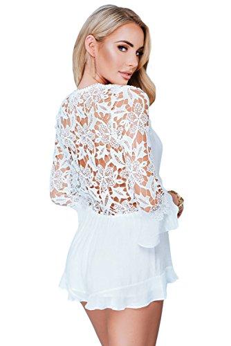 NEW Femme Blanc Dentelle tie-front Mini Combinaison Grenouillère Pyjama Combinaison Club Wear Taille M UK 10–12–EU 38–40