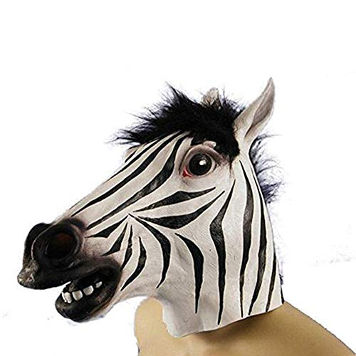 Latex Zebra Head Mask for Halloween Cosplay Costume Party]()