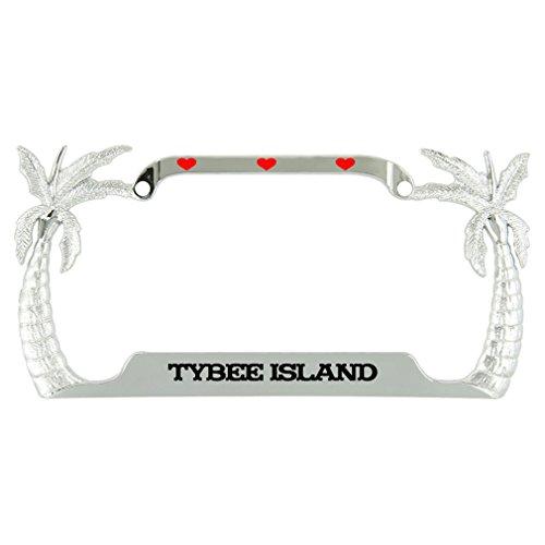 I Love Tybee Island Beach Ocean Palm Tree Metal License Plate Frame Tag Holder (Frame Island)