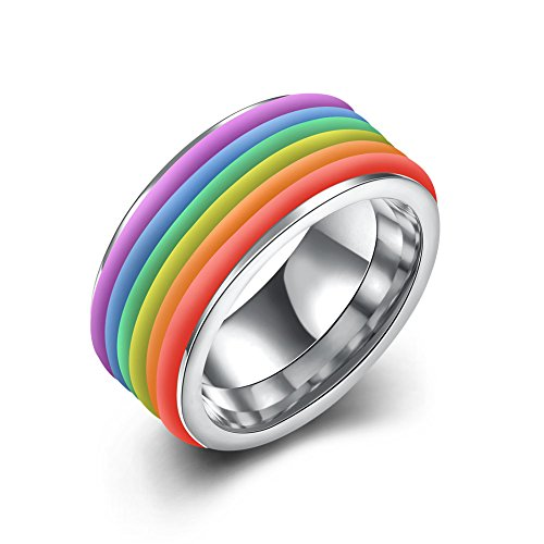 [Women's Rainbow 316L Titanium Stainless Steel Ring Wedding Bands Engagement Promise Rings, High Polish Finish Comfort Fit Size 9, White] (Homemade Wolf Costumes For Kids)