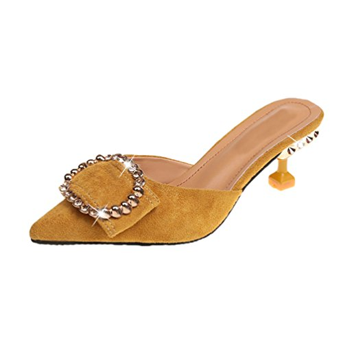 Jitong Women's Elegant Rhinestone Slippers for Party Pointed-Toe Kitten Heel Sandals with Buckle Yellow f8LjLG