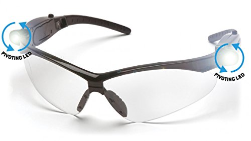 Pyramex SB6310SPLED PMXTreme Safety Glasses Black Frm,Clear Lens w/Led Lite (6 - Lens Frm Clear