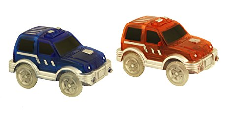 Road Vehicle Set (Bend A Path Toy Track Accessory- 2 Pack Light Up SUV's Toy Cars- Fits all Create A Road Vehicle Play Sets)