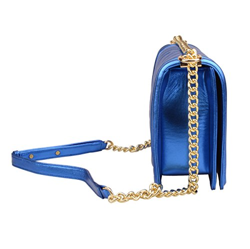 Handbags Leather Crossbody Genuine Shine Blue Bag Strap Ainifeel Quilted Chain Women's Hobo YawEq6