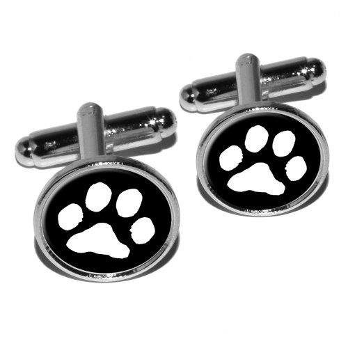 Silver Cat Plated Cufflinks - Paw Print - Pet Dog Cat - White on Black Round Cufflink Set - Silver