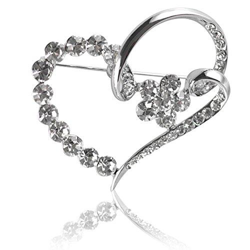 DongStar Fashion Jewelry, Classic Clear Crystal Rhinestone Love Heart Vintage Fashion Brooch Pin (Silver Heart Pin)