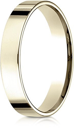 Benchmark 14K Yellow Gold 4mm Flat Comfort-Fit Wedding Band Ring , Size 9 ()