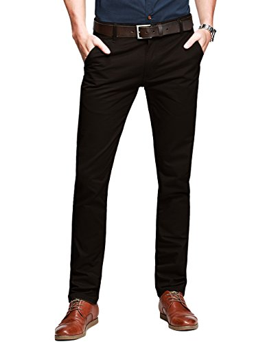 (Match Men's Slim-Tapered Flat-Front Casual Pants (32W x 31L, Brown#2))