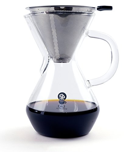 Reusable Manual - Cali Home Brew Pour Over Coffee Maker | 3 Cup/17oz Brewer | BPA Free Borosilicate Glass Carafe | Dual Layer Reusable Stainless Steel Filter | Eco Friendly | Easy to Clean Coffee Dripper | Free Ebook