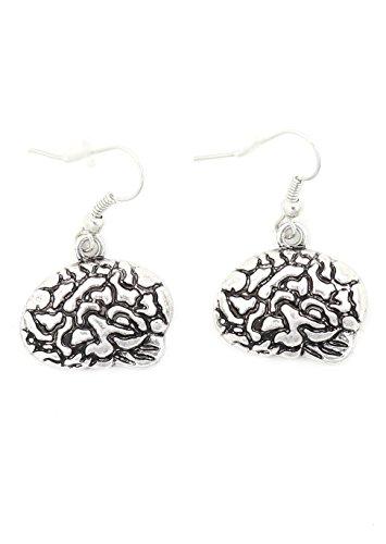 Human Brain Earrings Silver Tone EI69 Dangle Cranium Fashion Jewelry
