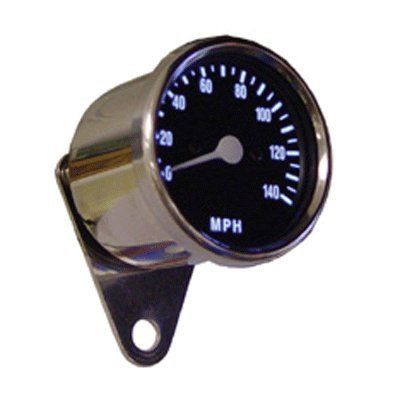 Bkrider Electronic Speedometers for Harley Custom Applications Illuminated Black Face Stainless Steel Gauge with Chrome Bracket (C01054736)