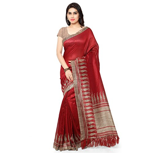 Rajnandini Women's Tussar Silk Paisley Printed Traditional Saree with Blouse Piece(JOPLNB3010_Red_Free Size)