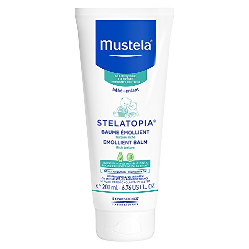 Mustela Stelatopia Emollient Balm, Rich Daily Baby Cream for Extremely Dry to Eczema Prone Skin, Fragrance-Free, Natural Formula, 6.76 fl. oz.