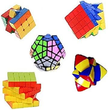 Mayatras Combo of Shengshou Megaminx, Pyramorphix, 3X3, 4X4, 5X5 Stickerless Cube Magic Rubik Puzzle with A Free Cube Bag (5 Cubes)