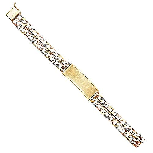 Precious Gem Jewellers 14k Tri Color Gold Textured Double Link Cuban Chain ID Bracelet for Men, -