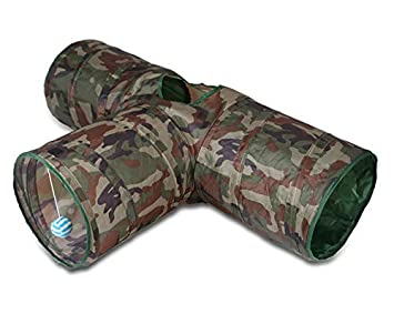 Mitef Camouflage - Túnel de 3 vías para Gatos - Tubo Plegable Divertido Juguetes para Mascotas con Campana, para Gato Cachorro Gato Conejo: Amazon.es: ...