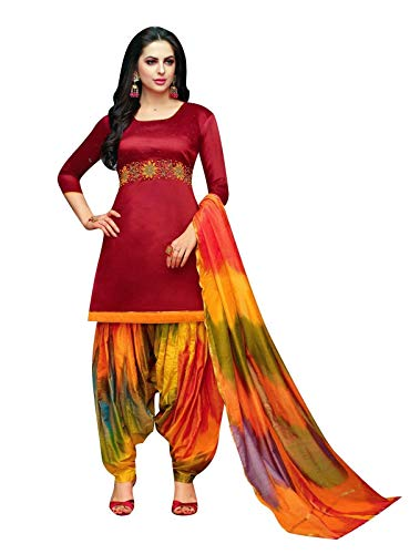 Salwar Red Kameez - Ladyline Kora Silk Handwork Salwar Kameez with Banarasi Silk Dupatta Ready to Wear Salwar Suit Indian (Size_44 / Red)