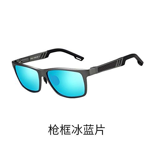 personalidad Hombre Chip ceniza polarizados Box de de conductor Gun anteojos de sol conducción de Marco KOMNY sol Blue gafas Gafas tendencias ojos negra del plateado vehículo TXRfdgT