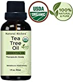 Tea Tree Oil by Natural Riches - USDA Certified, Pure and Natural Therapeutic Grade Organic Tea Tree Essential Oil - 1 fl oz