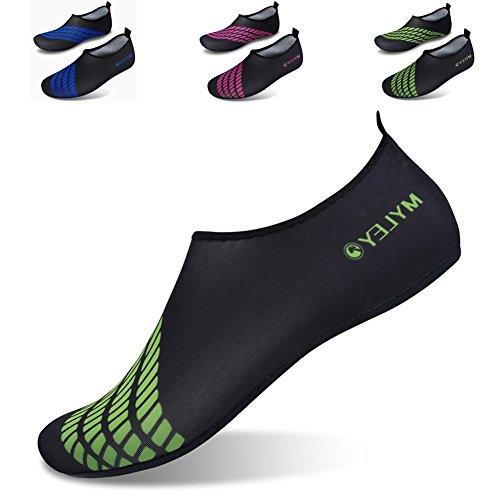 JIASUQI Frauen und Herren Classic Barfuß Wasser Sport Haut Schuhe Aqua Socken für Beach Swim Surf Yoga Übung Schwarz Grün