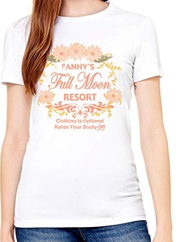 Full Moon Juniors T-shirt - urban print 365 - Women Crew Neck 100% Cotton Vintage Cute Graphic Junior T Shirts - Full Moon (M,WHT-P018) White